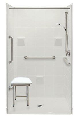 48 inch multi piece shower with seat and grab bars