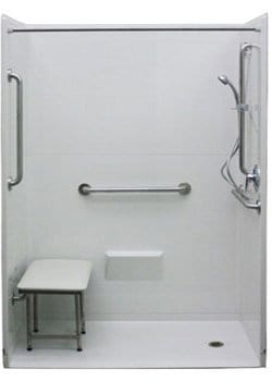 freedom accessible shower with wall mounted seat 54 x 36