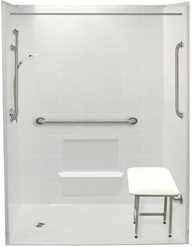2  54 quot  and 60 quot  Bathtub Replacement Showers with End Drains. Accessible Showers  Barrier Free Bathrooms for Disabled and