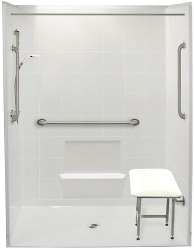 freedom accessible shower with center drain