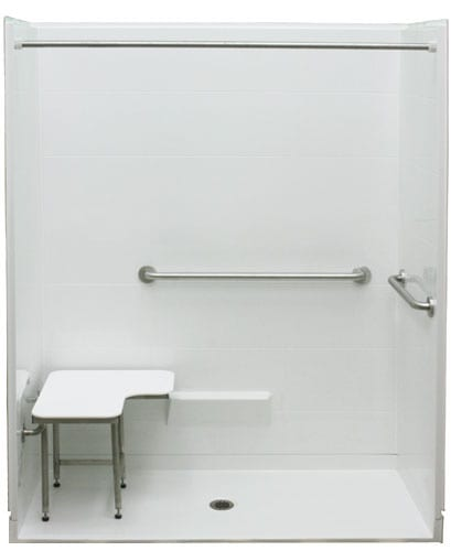 multi piece roll in ada shower with seat and grab bars