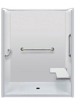accessible shower easy transfer with seat and grab bars